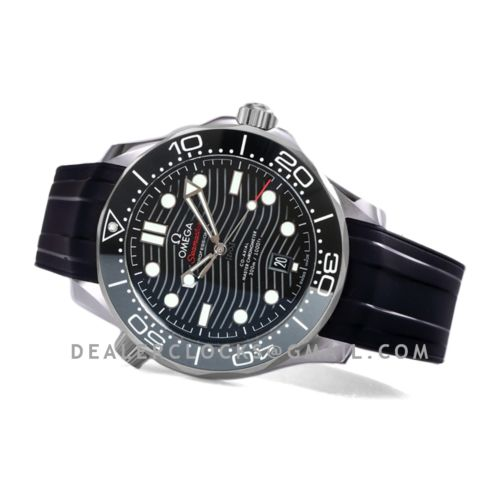 Seamaster Diver 300M Omega Co-Axial Master Chronometer 42mm Black Dial with Black Bezel in Rubber Strap