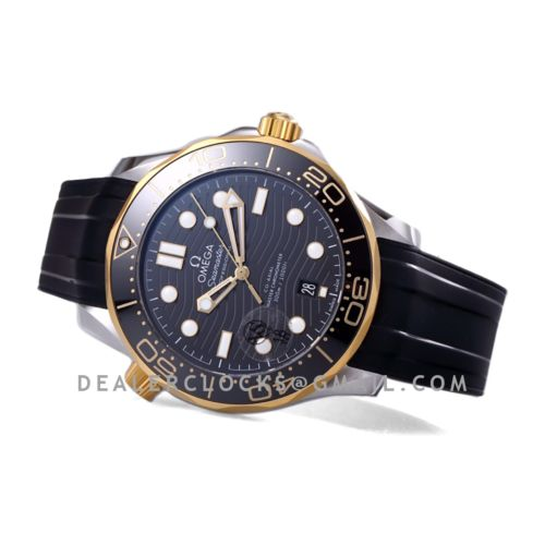 Seamaster Diver 300M Omega Co-Axial Master Chronometer 42mm Black Dial with Black Bezel in Steel/Yellow Gold on Rubber Strap