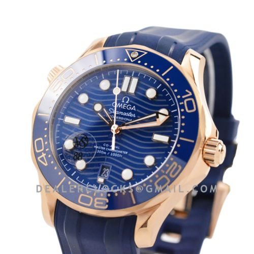 Seamaster Diver 300M Omega Co-Axial Master Chronometer 42mm Blue Dial with Blue Bezel in Steel/Rose Gold on Rubber Strap