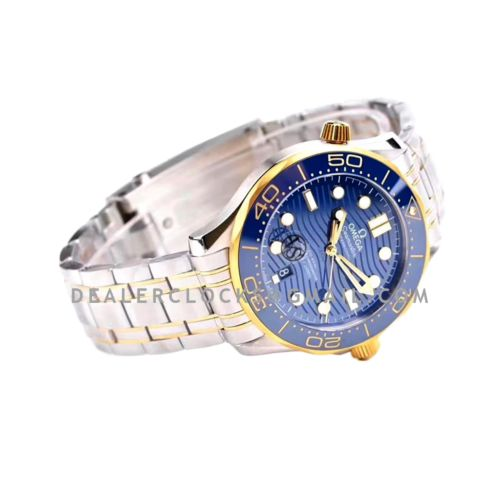 Seamaster Diver 300M Omega Co-Axial Master Chronometer 42mm Blue Dial with Blue Bezel in Steel/Yellow Gold