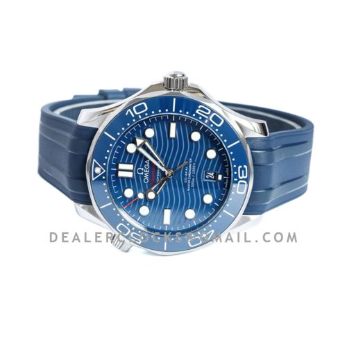 Seamaster Diver 300M Omega Co-Axial Master Chronometer 42mm Blue Dial with Blue Bezel on Rubber Strap