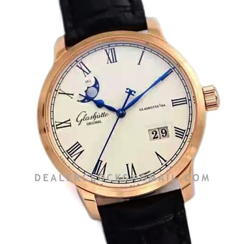 Senator Excellence Panorama Date Moon Phase in Rose Gold
