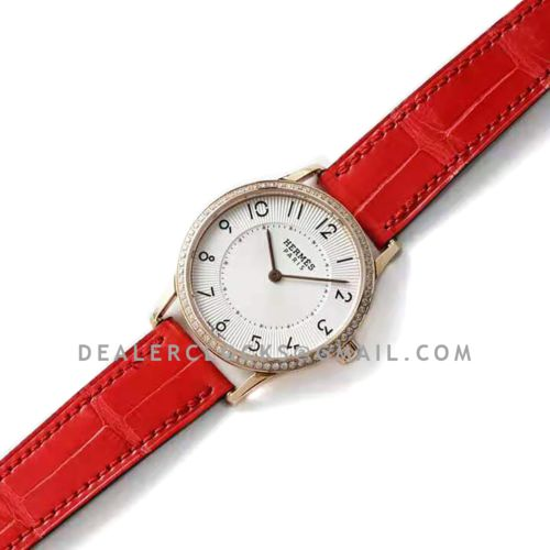 Slim d' Hermes White Dial in Rose Gold with Diamond Bezel on Red Leather Strap