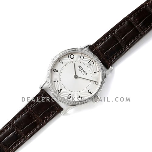 Slim d' Hermes White Dial with Diamond Bezel in Steel on Brown Leather Strap