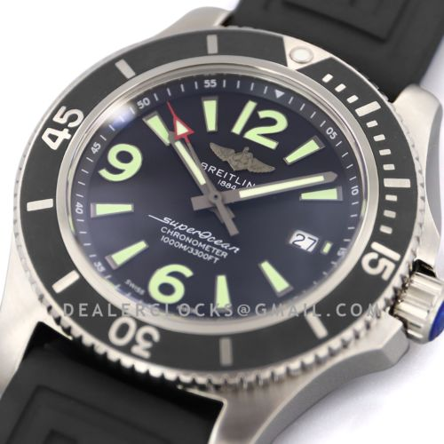 Superocean Automatic 44mm in Black Dial on Black Bezel on Rubber Strap