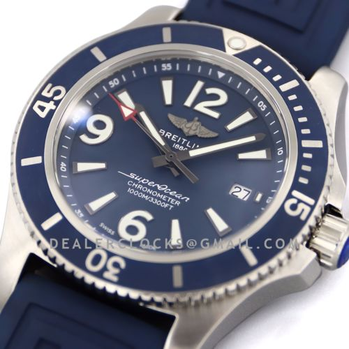 Superocean Automatic 44mm in Blue Dial on Blue Bezel on Rubber Strap Ref: A17367D81C1S1
