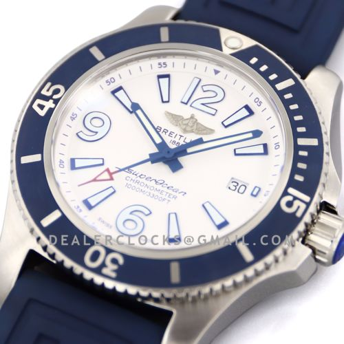 Superocean Automatic 44mm in White Dial on Blue Bezel on Rubber Strap