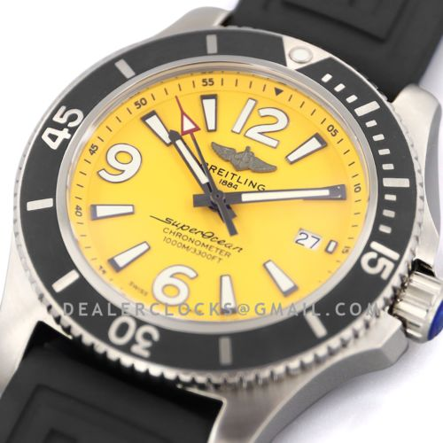 Superocean Automatic 44mm in Yellow Dial on Black Bezel on Rubber Strap