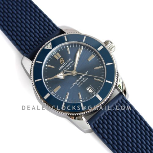 Superocean Heritage II B20 Automatic 42mm in Blue Dial on Blue Bezel on Rubber Strap