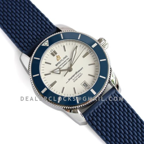 Superocean Heritage II B20 Automatic 42mm in White Dial on Blue Bezel on Rubber Strap