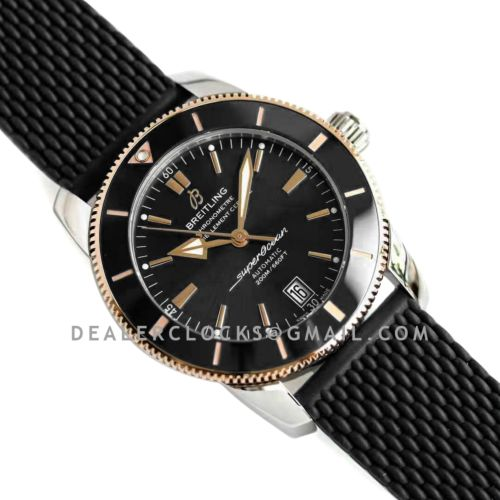 Superocean Heritage II B20 Automatic 42mm in Black Dial on Black and Rose Gold Bezel on Rubber Strap