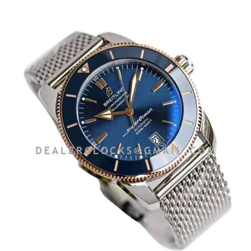 Superocean Heritage II B20 Automatic 42mm in Blue Dial on Blue and Rose Gold Bezel