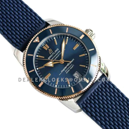 Superocean Heritage II B20 Automatic 42mm in Blue Dial on Blue and Rose Gold Bezel on Rubber Strap