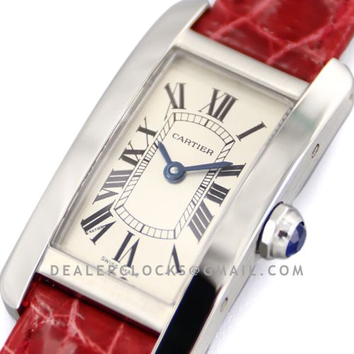 Tank Americaine Watch 19mm White Dial in Steel on Red Alligator Strap