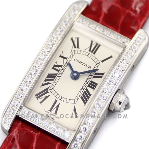 Tank Americaine Watch 19mm White Dial with Diamond Bezel in Steel on Red Alligator Strap