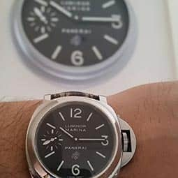 Panerai Luminor Marina 005 with Panerai 005 Dealer Wall Clock
